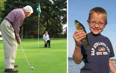 Summer activities including fishing and golfing